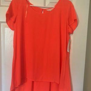 High low pink-orange shirt